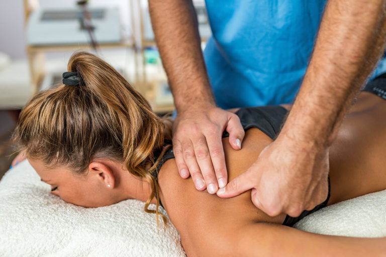 chiropractic patient receiving treatment